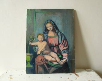 Vintage french painting on panel, 1940-1950, Woman and child, Still life, France, Femme enfant, Tableau gouache