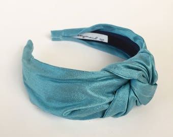 Blue silk Top knot turban headband 40's vintage style  hairband hair accessories no slip stay on knotted head band for women