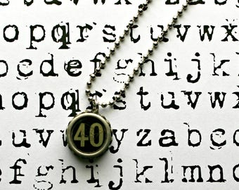 Vintage 1940s Upcycled Cash Register Key Necklace-Number 40 -Unisex Jewelry-Technology Geeks-by OldTimeVintageFinds