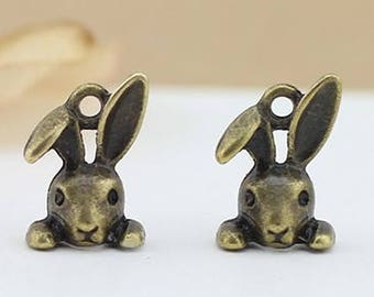 Alloy plating antique bronze  rabit head pendant