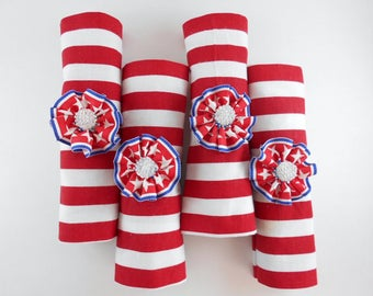 Fourth of July Napkin Rings Patriotic Rustic Table Decoration Flag Napkin Ring American Colors Independence Day Rustic Country Decor
