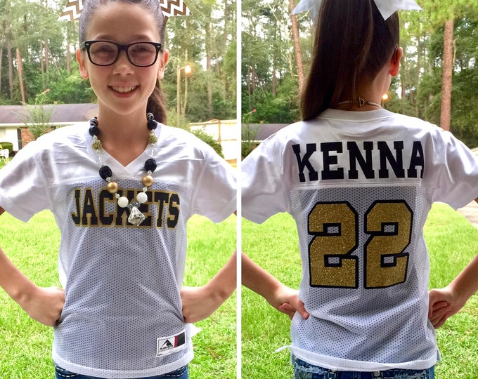 Custom Girls Football Jersey, Game Day Jersey, Football Bachelorette, Cheerleader Jersey, Team Spirit Shirt, Powderpuff Game Jersey