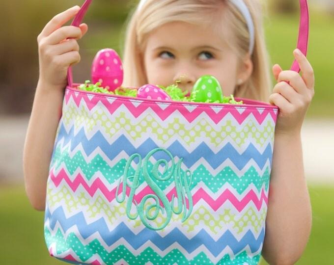 Monogrammed Easter Basket, Monogram Easter Basket, Personalized Easter Basket, Seersucker Easter Baskets, New Prints for 2018