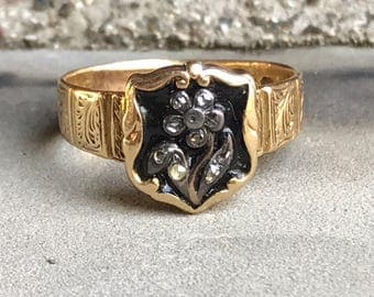 Forget Me Not Mourning Ring - Early Victorian Rose Cut Diamond, Enamel and 18k Yellow Gold