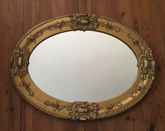 Ornate Oval Mirror, Vintage, Antique Frame, Gold Tone, Elegant Mirror, Wall Hung, Home Decor, Wall Decor, Mirror, Oval Antique Wall Mirror