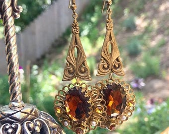1stDayofSummerSALE 1940 Reign Bridal Amber Topaz Earrings West Germany Jewelry Gold Filigree Dangle