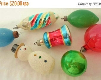 ON SALE Vintage Hand Blown Glass Christmas Tree Ornaments, 7, Snowman, Flocked, Colorful, Glitter, tear drop bulbs, bell shape, Christmas De