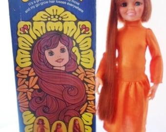 ON SALE Vintage 1971 Ideal Movin Groovin Crissy Doll, Wearing Her Original Orange Maxi Dress & Orange Boots, Original Box, Collectible