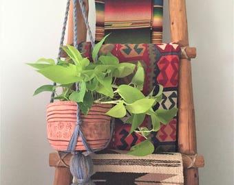 Vintage Yarn Hanging Planter with Large Tassel Finial