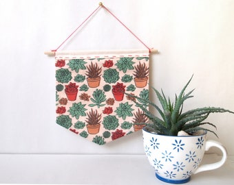 succulents handmade patterned wall hanging | fabric banners, home decor