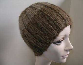 Handcrafted wool knit beanie hat brown with tan stripe k2 p2 ribbing pattern