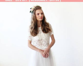 Lace Ivory short sleeves top , Ivory bridal lace top 2037.