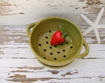 Small berry bowl colander strainer bowl olive green  ceramic kitchen handmade