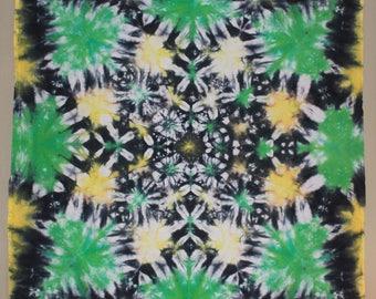 "Psychedelic Mandala Tie Dye Tapestry 58x58"" Green Black Yellow"