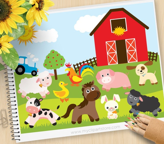 Farm Animals Red Barn Tractor Sheep Pig Rooster Puppy Dog