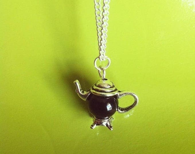 Silver Pendant chain necklace Black Pearl teapot