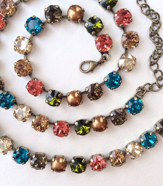 """Swarovski Crystal & Pearl 8.5mm Necklace  - """" New England Fall """"  Gorgeous Neutrals With Fiery Accents - Designer Inspired - FREE SHIPPING"""