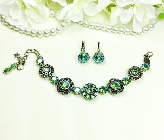 """Swarovski Crystal Bracelet - """" Byzantine Beauty """" Designer Inspired  -Erinite SHIMMER Crystals - FREE SHIPPING"""