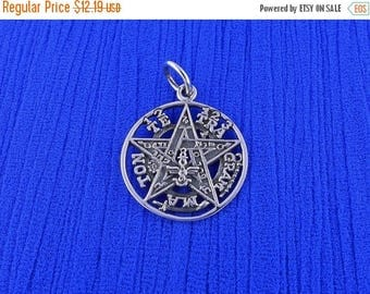 ON SALE Small Sterling Silver Tetragrammaton Pendant Wiccan Pagan Occult Pentagram Fine Detail Free Shipping