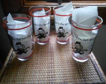 Vintage Set of Four Hazel Atlas Glasses - Good to the Last Drop - Vintage Bar Glass Set - Vintage Bar Glasses - Fun Barware