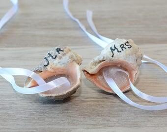 Mr Mrs Seashell Wedding Ring Bearer Pillow Seashell Ring Holder Beach Wedding Ring Bearer Dish Starfish Nautical Mermaid Wedding  set of  2