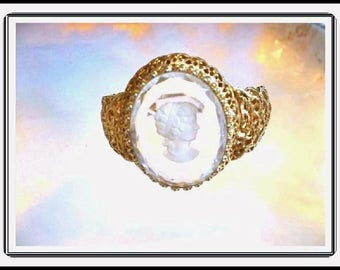Oh My!  Fantastic Juliana Golden Glass Cameo Clamper Bracelet -  D&E  Brac-710a-072217075