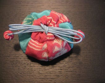 Small pouch. Balloon,Japanese Silk Kimono fabric,Chirimen Zaiku No.4