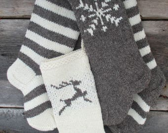 NEW 2017! Christmas Stocking Hand knit Wool Personalized dark grey and white with Deer Snowflakes stripes christmas ornaments