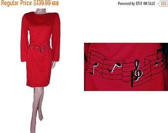 SUMMER SALE Vintage Go Vicki Musical Scale & Musical Notes Dress in Lipstick Red 80s dress red dress music dress embroidered dress go vicki