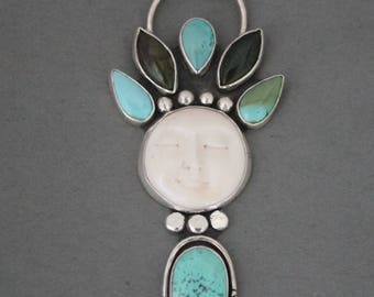 Southwestern Turquoise Necklace, Unique Turquoise Necklace, Carved Moon Necklace, Sterling Silver Artisan Jewelry, OOAK, Statement Necklace