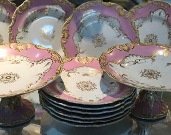 Early 19th Century English Dinnerware Set/Opaque Porcelain/Pale Pink Ground/Regency Period/Fancy Dishes/Gilt Accents/Scrolls/Center Medallio