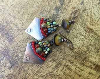 Beaded Rustic Alegria,Alegria Series earrings n355- folkloric . festive colorful . Tribalis . Picasso glass beads . artisan southwestern