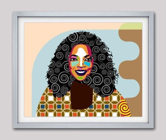 Oprah Winfrey Art, Celebrity Portraits, Oprah Winfrey  Pop Art Poster, Portrait Painting, Wall Decor, Gift For Her, Home Decor, Giclee Print