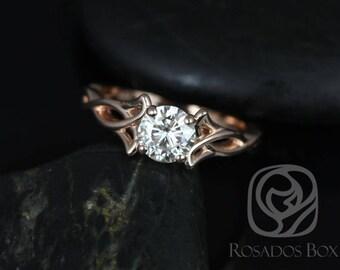 Rosados Box Orla 6mm 14kt Rose Gold Round F1- Moissanite Celtic Knot Triquetra Engagement Ring