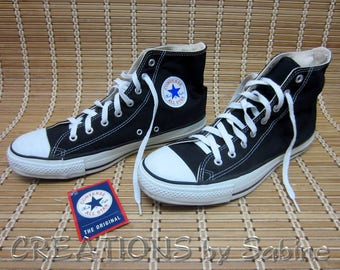 Converse All Star Chuck Taylor Shoes Mens 11 Womens 13 Black Chucks Cons Authentic USA Hitops High Tops Vintage FREE SHIPPING (647)