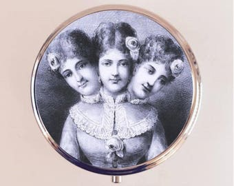 Siamese Twins Pill Box Case Pillbox Holder Trinket Stash Box Three Headed Circus Sideshow Freak Conjoined Twin Woman