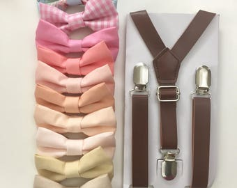 Blush pink Bowtie Brown Leather suspenders for Boys Kid baby toddler Men Groom Groomsmen Wedding Ring Bearer Outfit Gift Peach bow tie Petal