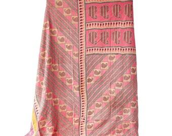 Vintage Kantha Quilt Coverlet