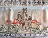 Vintage Bed Linens, Embroidered Pillowcases, Desert Theme, Cactus Design, Southwest Decor