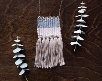 Woven Necklace // Fiber Jewelry // Mini- Weaving Necklace