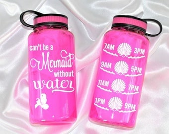 Water bottle with time - Custom colors - Water bottle - Can't be a mermaid without water™