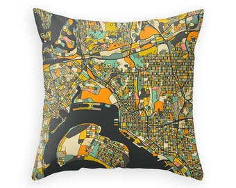 san diego home decor. SAN DIEGO MAP Throw Pillow for your Home D cor  dark version Abstract san diego Etsy