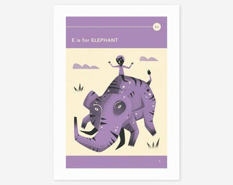 E is for ELEPHANT (Giclée Fine Art Print/Photo Print/Poster Print) by Jazzberry Blue