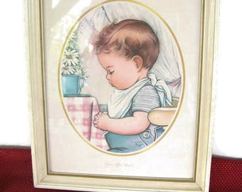 "vintage framed print, ""Grace After Meals"" by Charlot Byj, 1940's"