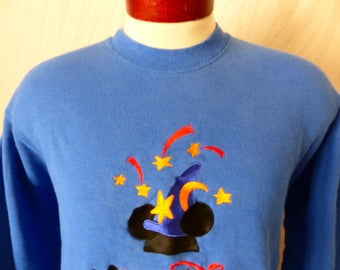 vintage 90's Club Disney blue fleece graphic sweatshirt red yellow black mickey mouse ear wizard hat embroider logo crewneck  pullover Large