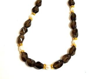 Dark Brown Smoky Quartz Gemstone White Freshwater Pearl Necklace Magnetic Clasp Necklace Beaded Necklace Stone Jewelry