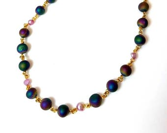 multicolor rainbow agate gemstone necklace with purple freshwater pearls natural stone necklace beaded chain gold jewelry necklace for women