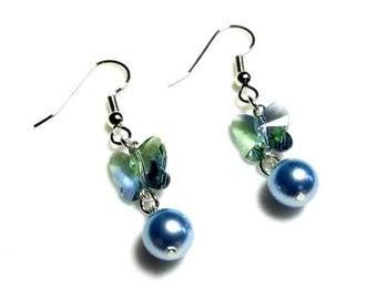 Providence Lavender Swarovski Butterfly Crystal Blue Swarovski Pearl Earrings Hypoallergenic Earrings Nickel Free Earrings Beaded Jewelry