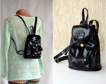 Small Patent Classic Backpack Black Cute Leather Vintage Rucksack Vinyl 80s Knapsack