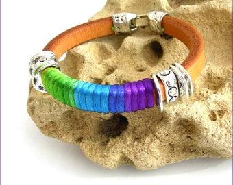 Bracelet Cuir épais Beige-Camel /  Cordon rainbow et métal- sur mesure